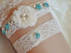 Jeweled Lace Wedding Garter Set, Bridal Garter, Bling Garters, Bridal Lingerie, Rhinestone Garter with Beads, Crystal Bridal Accessories by bridalambrosia on Etsy