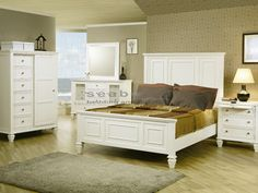 Sandy Beach White Panel 6-pc Queen Bedroom 201301Q - Seaboard ...