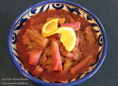 Rhubarb from our garden poached with orange and ginger.