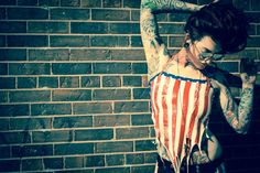 Tattered American Flag Halter Top Cotton Spandex, American Flag, Red And White, Pin Up, How To Wear, Inspiration, Clothes, Tops, Style