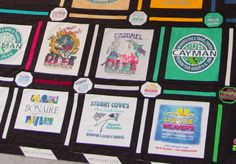 Custom T-Shirt Quilts - great idea to preserve and display travel t-shirts.  Do it yourself or have the lady at this link do it for you!