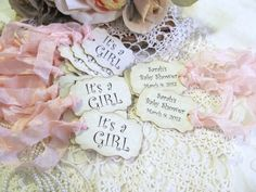 Baby Shower Favor Tags - It's a Girl - Parchment - Double Sided - Customized - Set of 18 - Choose Ribbon Color by auntiesjammies on Etsy