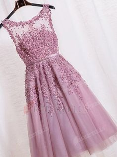 A-line Scoop Knee-length Purple Zipper-up Organza Homecoming Dress With Appliques Beading