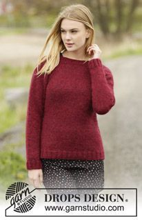 """Winter Wine - Knitted DROPS jumper with rib and raglan in """"Air"""". Worked top down. Size: S - XXXL. - Free pattern by DROPS Design"""