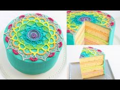 """Mandala drawings are no longer just for paper. We turn an average buttercream cake, into an edible work of art. This rainbow mandala is piped with beautiful buttercream, and is the perfect cake for the artist in your family. https://youtu.be/cUuSL94f8jo Materials * 8"""" round cake - one batch of our Orange Peach cake"""