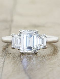 Unique Three Stone Engagement Ring by Ken & Dana Design in NYC