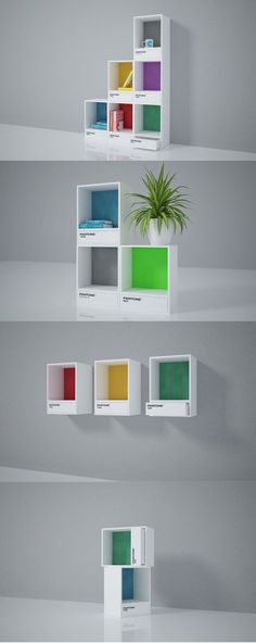 Bookshelf - If you're a designer or just a fan of Pantone colors, Invasione Creativa has envisioned a set of modular furniture that you're sure to appreciate. Unique Wood Furniture, Modular Furniture, Furniture Plans, Diy Furniture, Furniture Design, Office Furniture, Furniture Assembly, Colorful Furniture, Furniture Stores