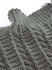 Hand knitting a Filey Gansey in sage green | East Yorkshire heritage knitwear by Wayside Flower