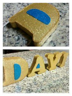 Letra 3D - Feitas com papelão, rolinhos de papel e revestidas com e.v.a.