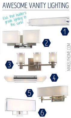 Awesome contemporary and modern vanity lighting that will cast a soft glow in your bathroom via MakelyHome.com