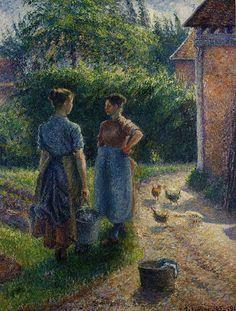 Peasants Chatting in the Farmyard, Eragny - Camille Pissarro,   1902
