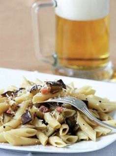 Meaty eggplant is cooked with bacon and beer and tossed with penne pasta in this quick and filling dish! Meat Cooking Times, Cooking Bacon, Cooking Recipes, Cooking Pasta, Cooking Fish, How To Cook Fish, How To Cook Pasta, Cooking Eggplant, Appetisers