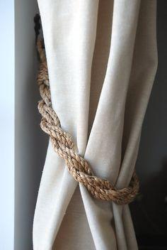 Rustic Manila Rope Curtain Tiebacks shabby by AndreaCookInteriors