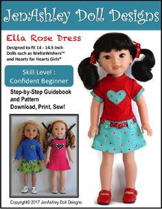 The JenAshley Doll Designs Ella Rose Dress inch Doll clothes pattern. This timeless classic dress pattern has the look of a two piece outfit. Girl Doll Clothes, Doll Clothes Patterns, Pdf Sewing Patterns, Doll Patterns, Clothing Patterns, Girl Dolls, Ag Clothing, Rag Dolls, Sewing Clothes