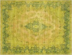 Persian Overdyed Rug in Green, 10x14 by RugzyRugs on Etsy