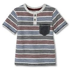 Toddler Boys' Tee Shirt Henley Multi Stripes - Tom Cat Gray 3T