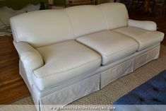 Cream PAINTED sofa from outdated blue floral! (TIP - Plan ahead! Start using Michael's and Hobby Lobby coupons to get 8 to 10 bottles of fabric medium before project starts.) I am totally doing this with my ugly downstairs couch! Paint Leather Couch, Faux Leather Walls, Suede Couch, Leather Furniture, Leather Sofa, Painting Fabric Furniture, Paint Upholstery, Chalk Paint Fabric, Reupholster Couch