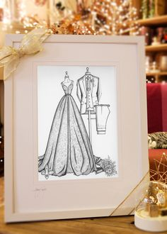 Do you know someone who loves fashion, design, art and thoughtful gifts? Maybe it's you or your best friend, maybe your sister or daughter. Why not give a surprising, caring and custom fashion gift this Christmas from Irish illustrator, Audrey Vance of Wedding Dress Ink. Based in her home studio in Co. Wicklow, Audrey create each Wedding Dress illustration from scratch and uniquely captures a girl's wedding day style in full glory. www.weddingdressink.com/shop/bride-n-groom-sketch