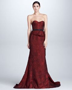 Organza Jacquard Bustier Gown, Scarlet by J. Mendel - Could never wear strapless... would be too clear that I would be braless...