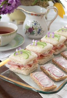 """Ham, Pineapple, and Cucumber Tea Sandwiches"" from 'Tea Time Magazine' see recipe please visit. Finger Sandwiches, Cucumber Sandwiches, Tea Sandwich Recipes, Roast Beef Tea Sandwiches, Sandwich Ideas, Tapas, Tea Time Magazine, Simply Yummy, Afternoon Tea Parties"