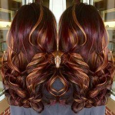 Cheveux mècher brun/caramel/bourgogne