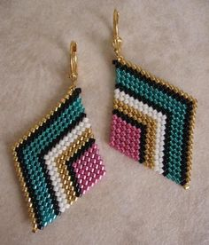These pretty beadwoven earrings are handmade with Duracoat galvanized gold, galvanized pink, silver-lined teal, matte cream, & black delica seed beads. Seed Bead Jewelry, Bead Jewellery, Seed Bead Earrings, Seed Beads, Beaded Jewelry, Handmade Jewelry, Beaded Earrings, Leaf Earrings, Fringe Earrings