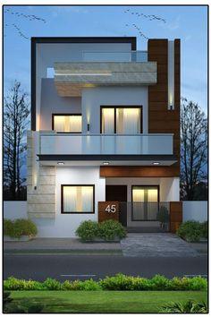 Fachadas de casas simples com varandas housefrontdesign Bungalow House Design, House Front Design, Small House Design, Modern House Design, Modern House Facades, Design Exterior, Facade Design, Modern Exterior, Exterior Colors