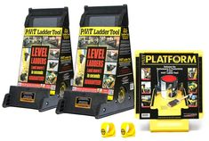 Perfect gift for the Dad who has everything, and is handy around the house. This painter's pack from PiViT Tools includes two handy Ladder Leveler Tool, a platform to hold tools on a ladder, and two PiViT Thumbs for easily holding paint cans. Ladder Leveler, Ladder Stabilizer, Platform Ladder, Ladder Accessories, Roofing Tools, Ladder Stands, Asphalt Roof Shingles, Milwaukee Tools, Roof Design