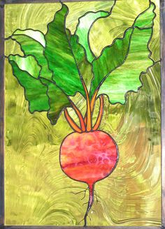 Stained Glass Beet Panel Window Art Made by trilobiteglassworks, $225.00