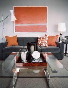 contemporary orange and grey living room