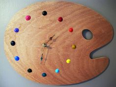 DIY paint palette clock-- I made this one!!