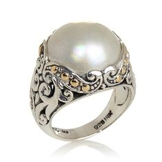Bali Designs Cultured Mabé Pearl Silver/18K Gold Ring