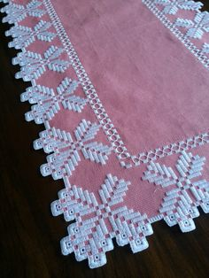 Hand crocheted border fillet crochet lace trim linear or Types Of Embroidery, Learn Embroidery, Ribbon Embroidery, Hardanger Embroidery, Embroidery Stitches, Embroidery Patterns, Swedish Weaving, Crochet Hook Set, Drawn Thread