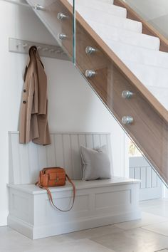 This boot room at the recently photographed Worcestershire Project is tucked away under a beautifully designed staircase in the hallway. Open Plan Kitchen Dining Living, Open Plan Kitchen Diner, Kitchen Benches, Living Room Kitchen, Home Decor Kitchen, Kitchen Design, Tall Storage Cupboard, Boot Storage, Kitchen Under Stairs