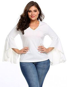 4d4efb70ad Plus Size Women V Neck Solid Floral Bell Sleeve Blouse Tunic Shirts Tops -  White - Clothing
