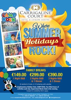 Carrigaline Court Hotel's Summer Campaign wishful application to print, online and social media. Camp Rock, Broken Families, Summer Campaign, 1st Night, Social Media, Activities, Social Networks, Social Media Tips