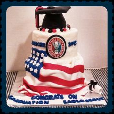 High school graduation and Eagle Scout honors celebration 3 tier cake with fondant flag draped on it 3 Tier Cake, Tiered Cakes, Flag Cake, Eagle Scout, High School Graduation, Fondant Cakes, Scouts, Celebration, Desserts