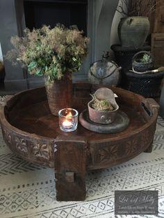 Antieke houten Chakki/Grinder tafel #4