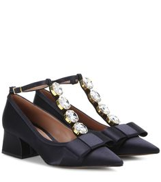 Marni - Marni crystal-embellished satin pumps - Marni sticks to it's quirky, girly style with these sweet satin pumps. Cut in navy blue for elegant appeal, the ladylike style is finished off with oversized crystal embellishments to the T-bar front for an offbeat, girly look. Let yours punctuate ensembles on a fervently feminine note. seen @ www.mytheresa.com