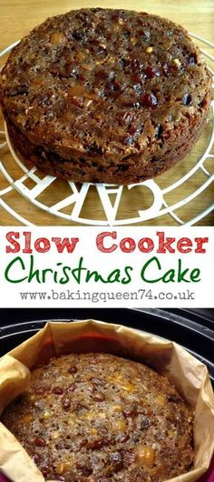 Simple and festive recipe for a slow cooker Christmas cake, a traditional fruit cake enjoyed at Christmas time in Great Britain. Feed it with alcohol in the weeks leading up to Christmas to preserve it! Crock Pot Desserts, Slow Cooker Desserts, Slow Cooker Recipes, Crockpot Recipes, Cooking Recipes, Crock Pots, Vegan Recipes, Cooking Stuff, Xmas Food
