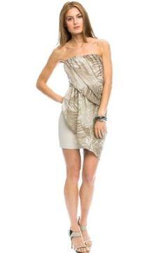 Armani Exchange Draped Strapless Dress