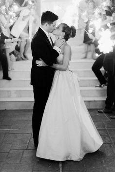 The dreamiest black & white sparkler moment: http://www.stylemepretty.com/little-black-book-blog/2016/07/22/bright-pink-glamorous-gold-wedding/ | Photography: Dana Fernandez Photography - http://www.danafernandezphotography.com/