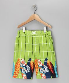 Take a look at this Lime Boardshorts - Boys by iXtreme on #zulily today!