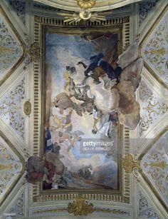 Stock Photo : Glory of San Gaetano, by Mattia Botoloni, frescoed ceiling of Church of San Niccolo' da Tolentino, Venice, Italy, 17th century