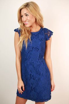 #shopimpressions Queen's Lace Mini Dress in Royal Blue