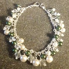 Wire wrapped Swarovski white pearls and crystals,green glass pearls cluster bracelet