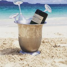 Doesn't get much better than champagne on the beach!