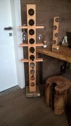 portabottiglie e bicchieri con base in mattone antico