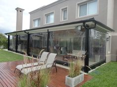 Lona cristal4 Casa Patio, Pergola Patio, Backyard Patio, Backyard Landscaping, Cafe Exterior, Cottage Exterior, Closed In Porch, Porch Enclosures, Gazebos