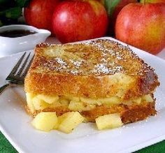 Apple Stuffed French Toast Ingredients 1 large apple 1 teaspoon butter, melted 1/2 teaspoon sugar 1 dash cinnamon 1/2 cup half-and-half 1 large egg 1 teaspoon vanilla 1/2 teaspoon sugar 1/4 teaspoon cinnamon 1/4 teaspoon nutmeg, grated 2 slices day old bread, like brioche ( very thick slices) 2 tablespoons unsalted butter confectioners' sugar (optional) Directions Peel, core, and slice apple. Cook apple slices in 1 teaspoon melted butter in a sauce pan over medium heat until soft. Drain ...